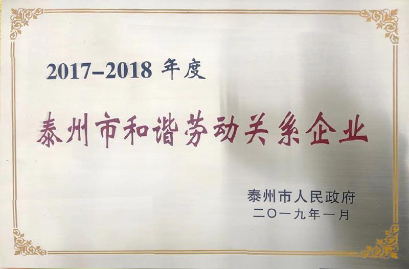 Taizhou harmonious labor relations enterprise